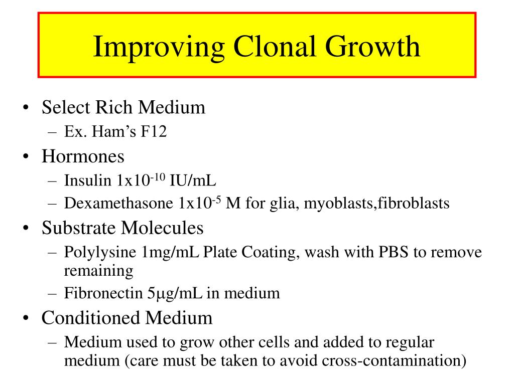 Improving Clonal Growth
