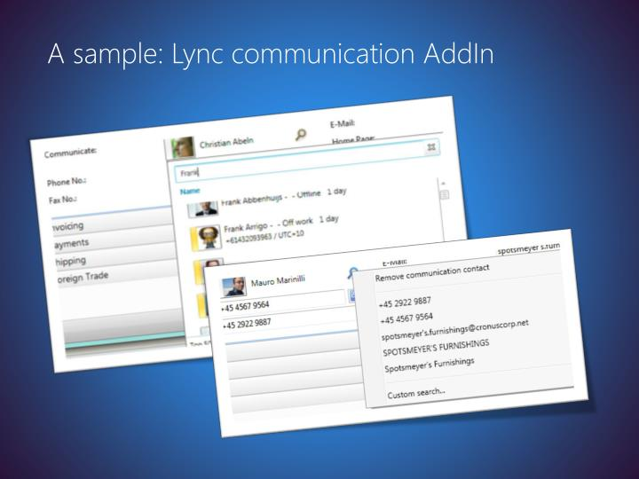 A sample: Lync communication AddIn