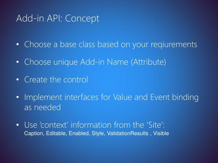 Add-in API: Concept