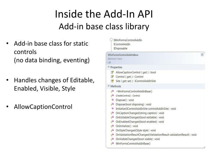 Inside the Add-In API