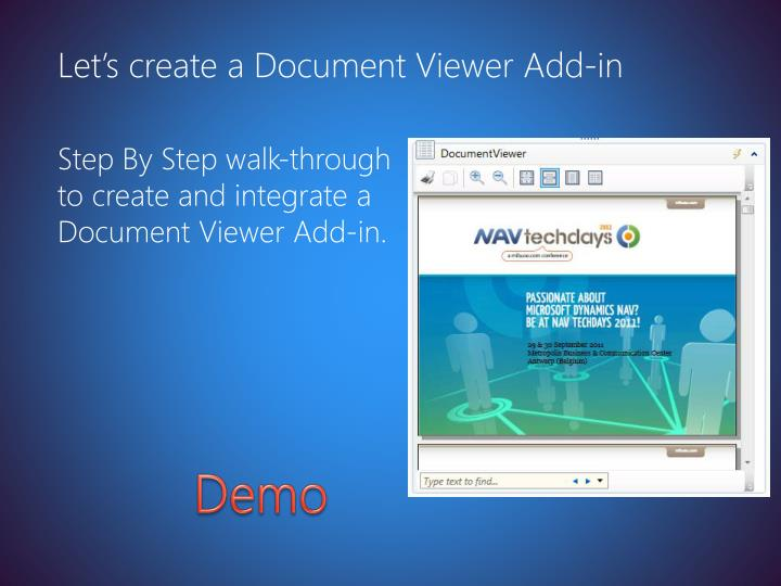 Let's create a Document Viewer Add-in