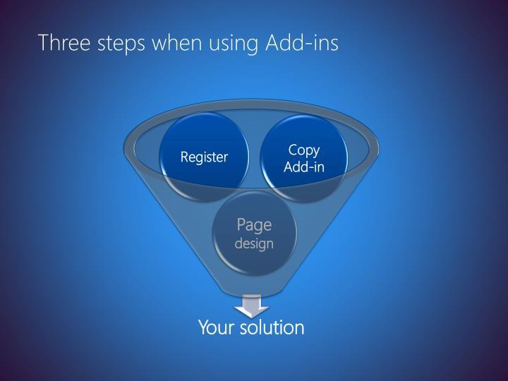 Three steps when using Add-ins