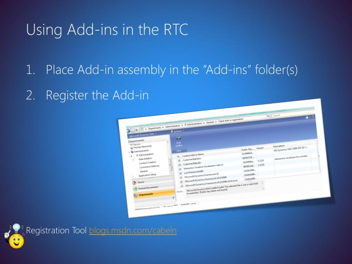Using Add-ins in the RTC