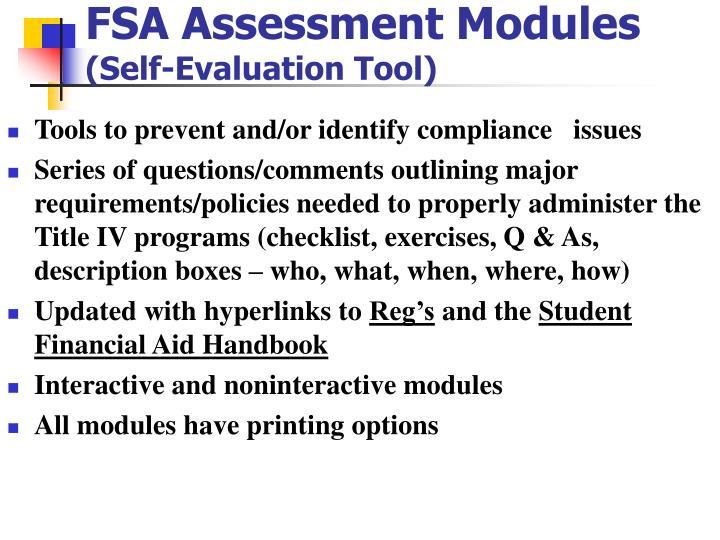 FSA Assessment Modules