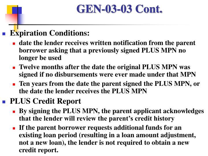 GEN-03-03 Cont.