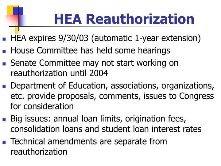 HEA Reauthorization