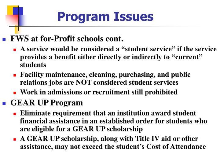 Program Issues