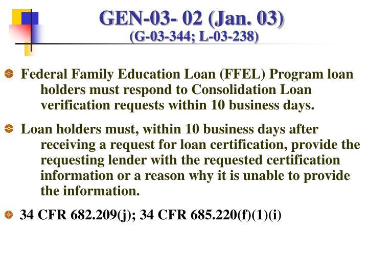 GEN-03- 02 (Jan. 03)