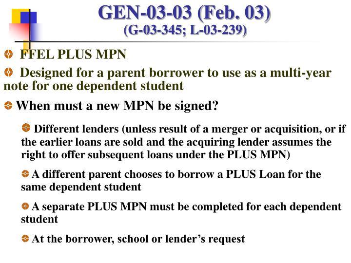 GEN-03-03 (Feb. 03)