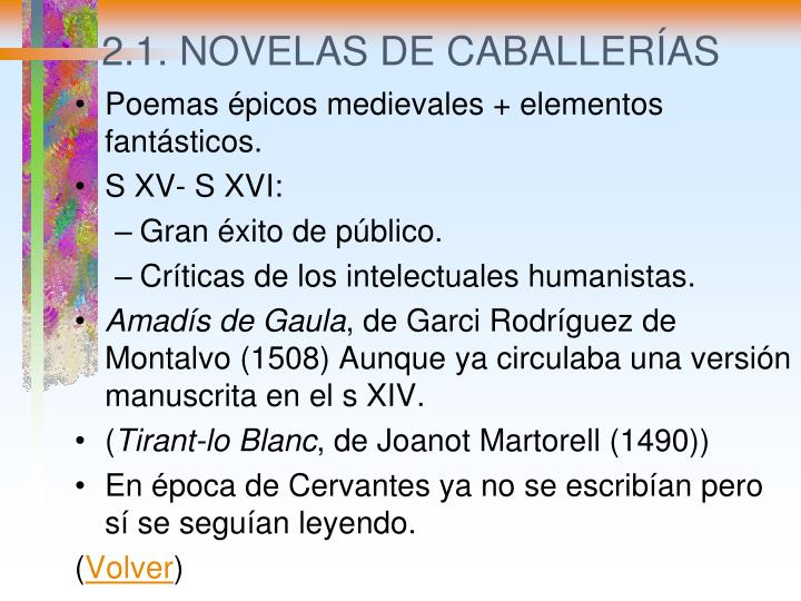 2.1. NOVELAS DE CABALLERÍAS