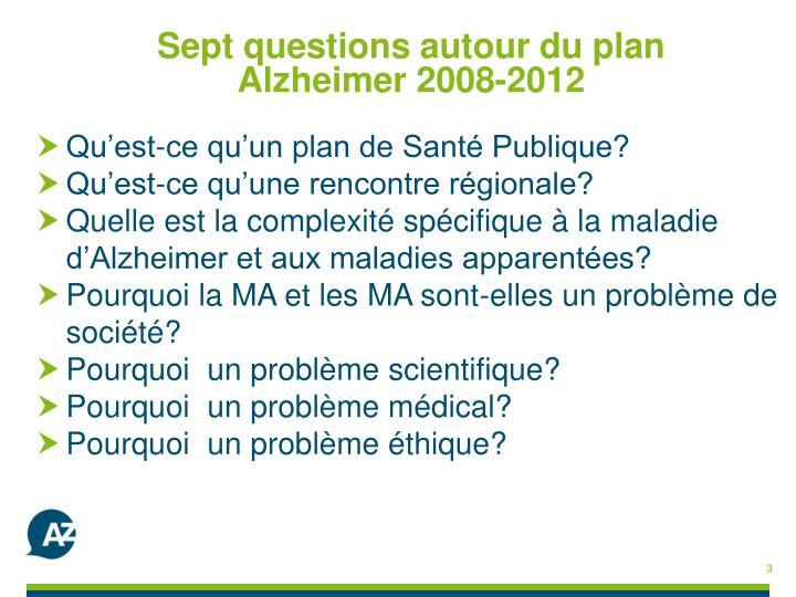 Sept questions autour du plan  Alzheimer 2008-2012