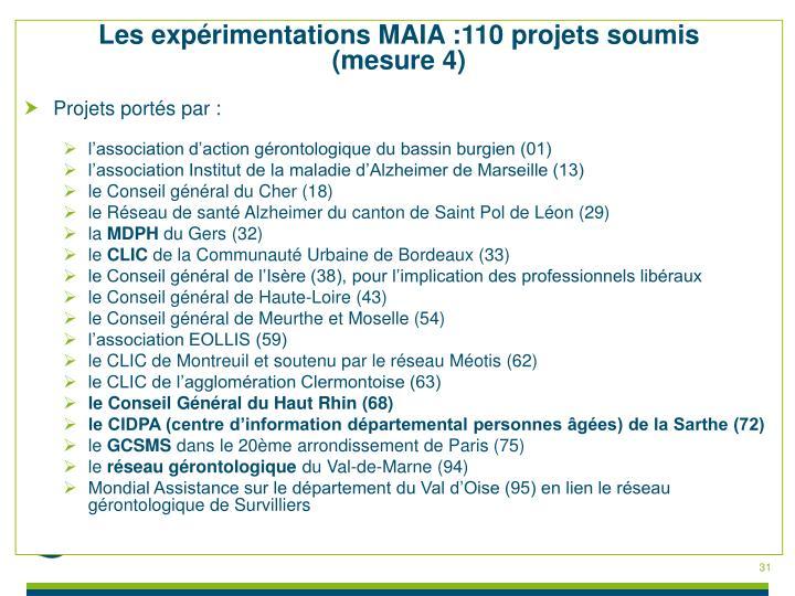 Les expérimentations MAIA :110 projets soumis