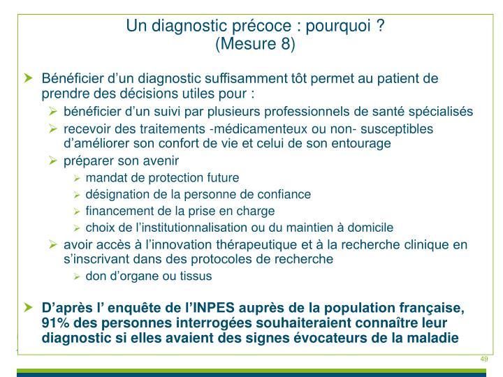 Un diagnostic précoce : pourquoi ?