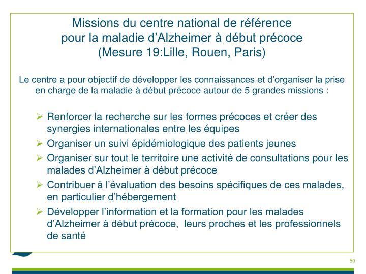 Missions du centre national de référence