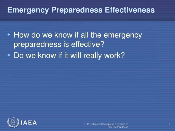 Emergency Preparedness Effectiveness