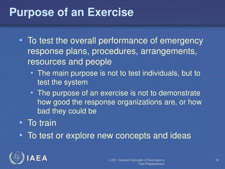 Purpose of an Exercise