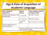 age rate of acquisition of academic language
