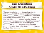 cues questions activity fill in the blanks
