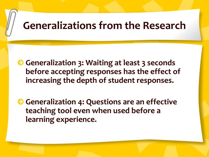 Generalizations from the Research