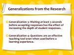 generalizations from the research1