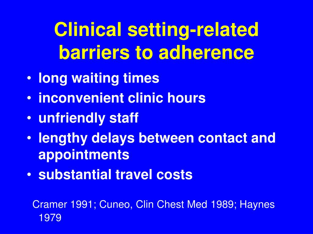 Clinical setting-related barriers to adherence