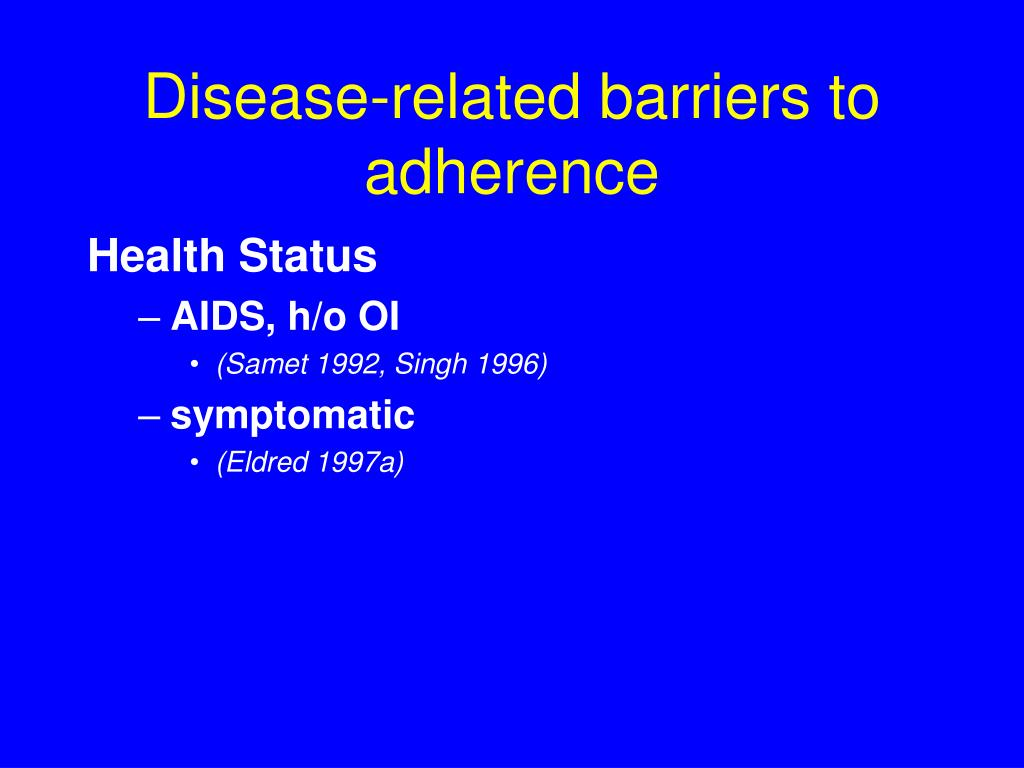 Disease-related barriers to adherence