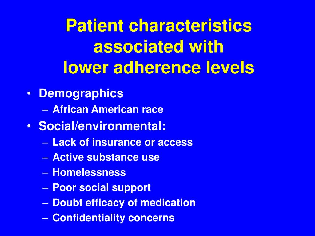 Patient characteristics associated with