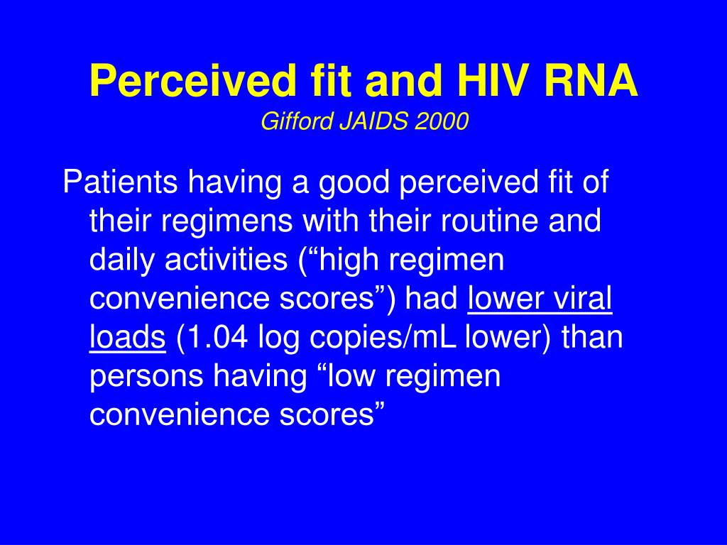 Perceived fit and HIV RNA
