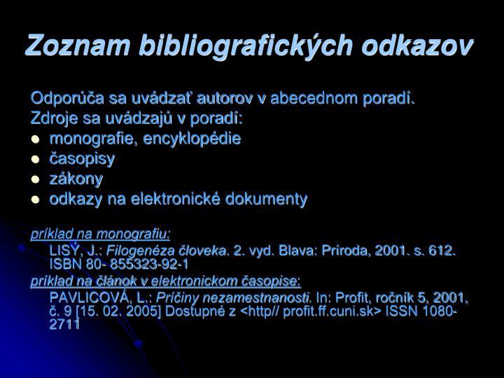 Zoznam bibliografických odkazov