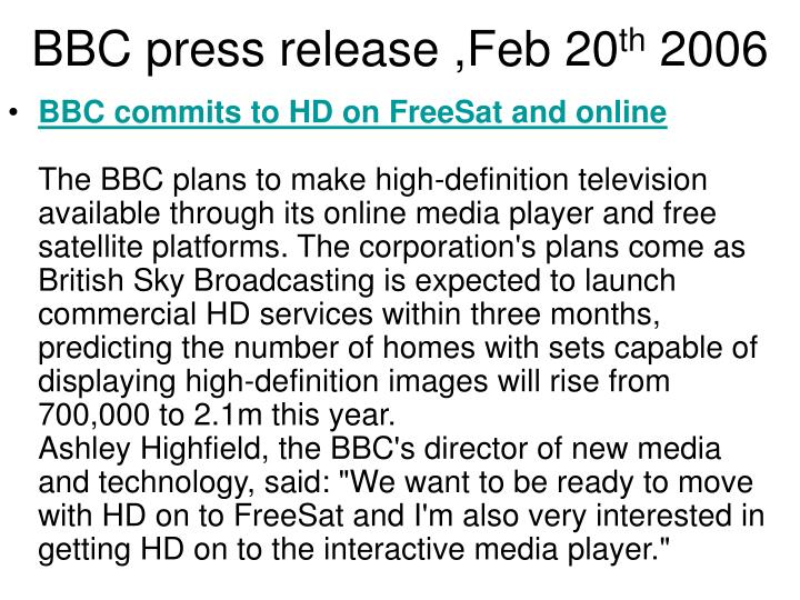 BBC press release ,Feb 20