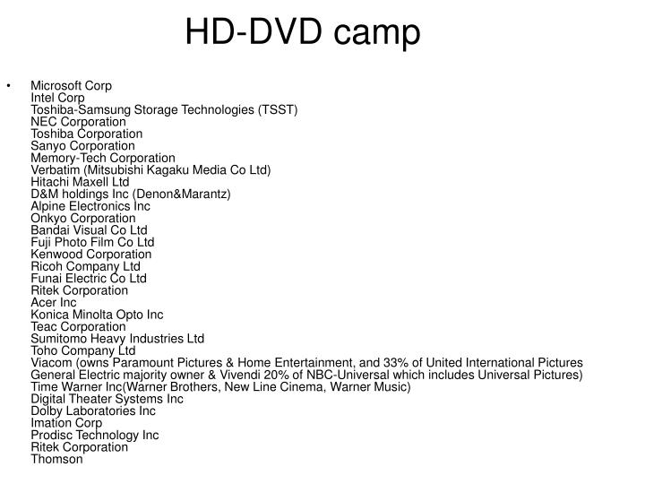 HD-DVD camp