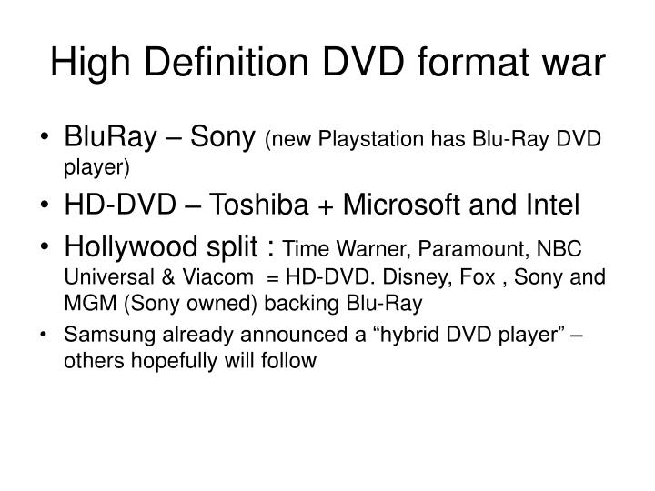 High Definition DVD format war