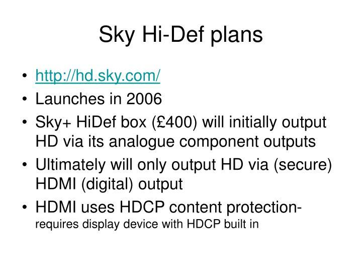 Sky Hi-Def plans