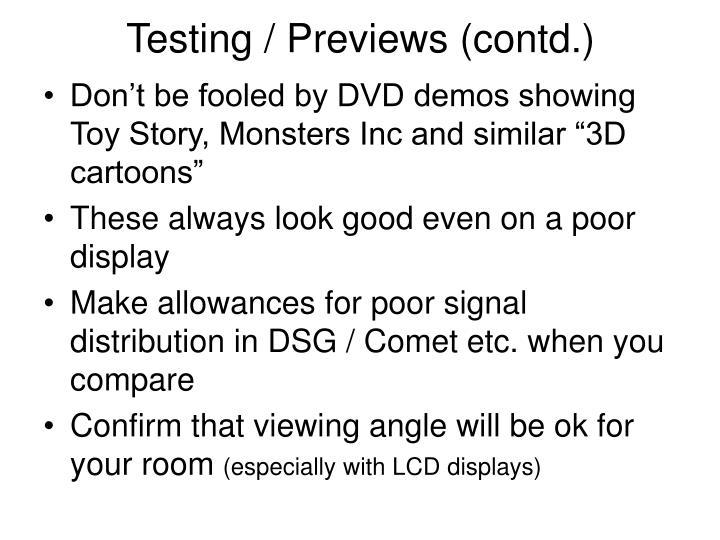 Testing / Previews (contd.)