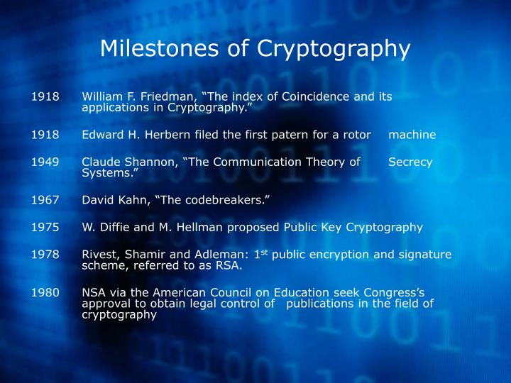 Milestones of Cryptography