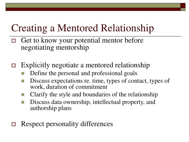 Creating a Mentored Relationship