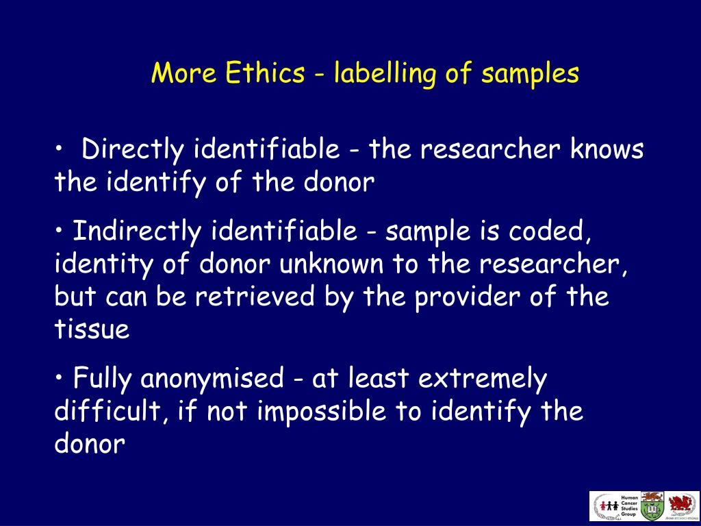 More Ethics - labelling of samples