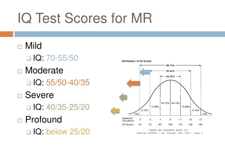 IQ Test Scores for MR