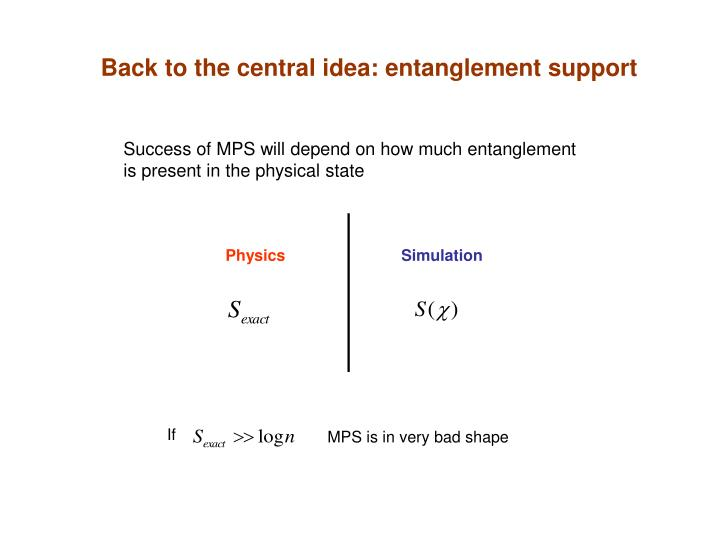 Back to the central idea: entanglement support
