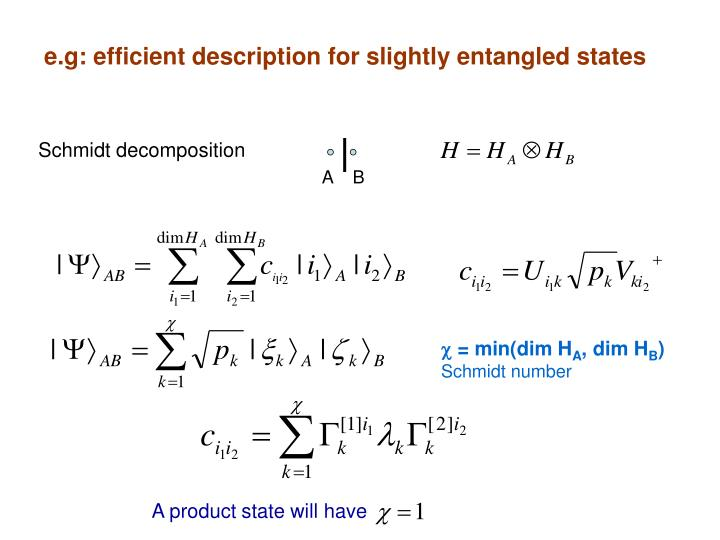 e.g: efficient description for slightly entangled states