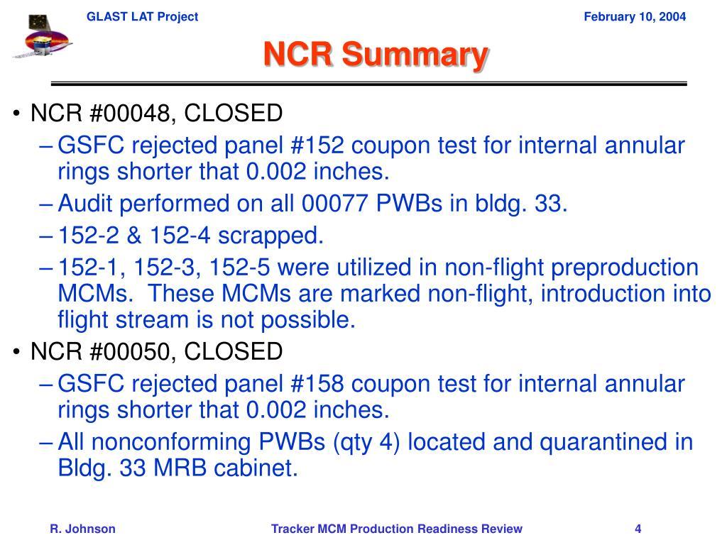 NCR Summary