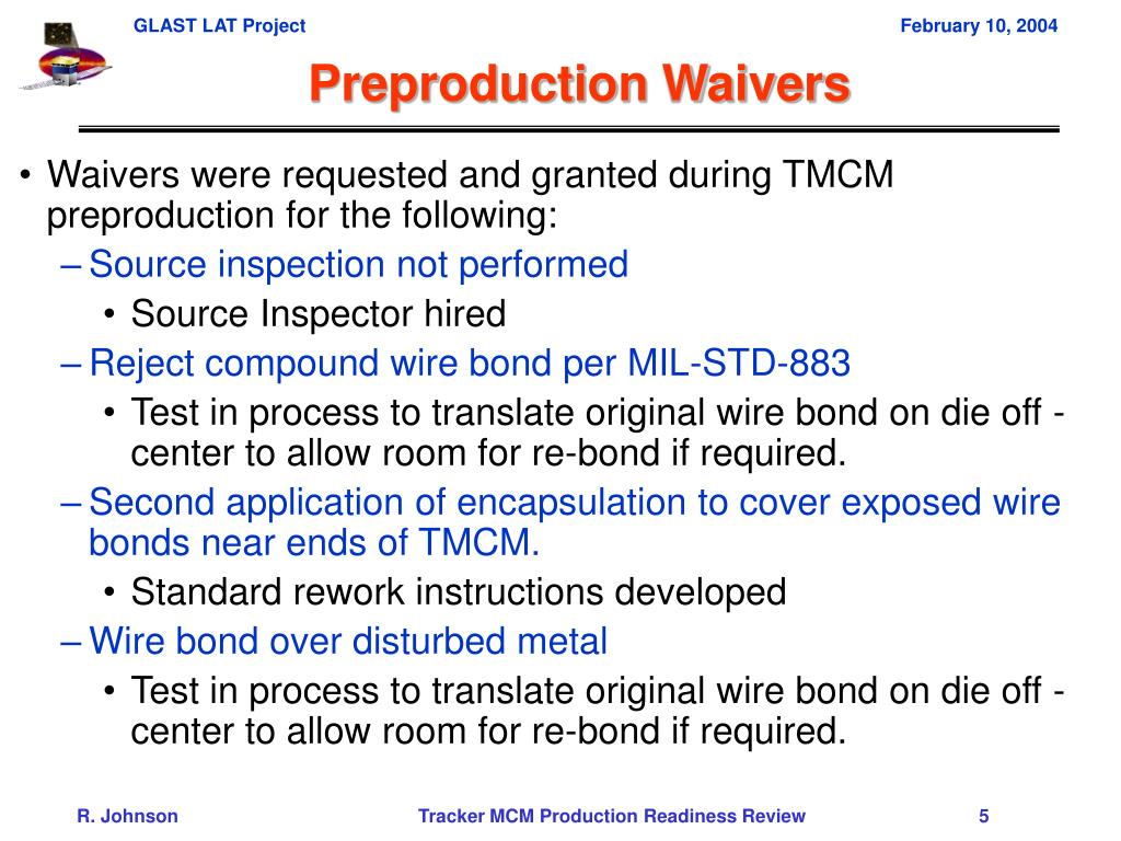 Preproduction Waivers