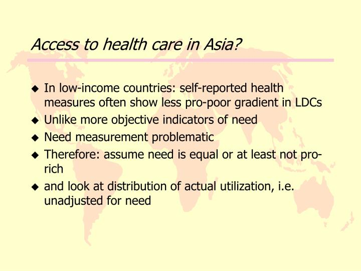 Access to health care in Asia?