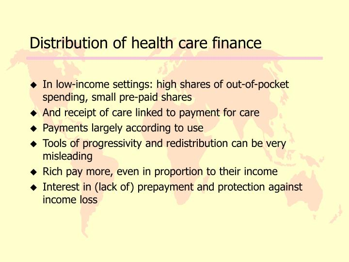 Distribution of health care finance