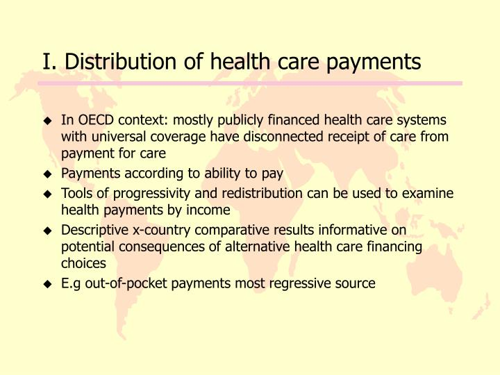 I. Distribution of health care payments