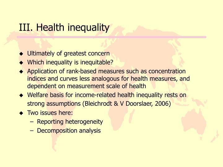 III. Health inequality