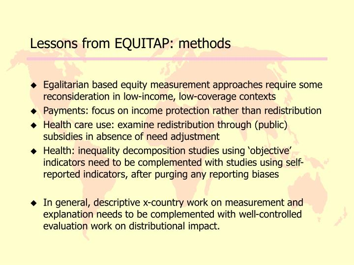 Lessons from EQUITAP: methods