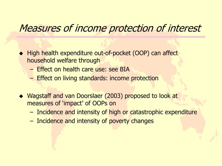 Measures of income protection of interest