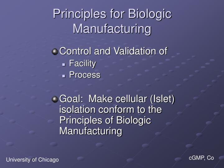 Principles for Biologic Manufacturing