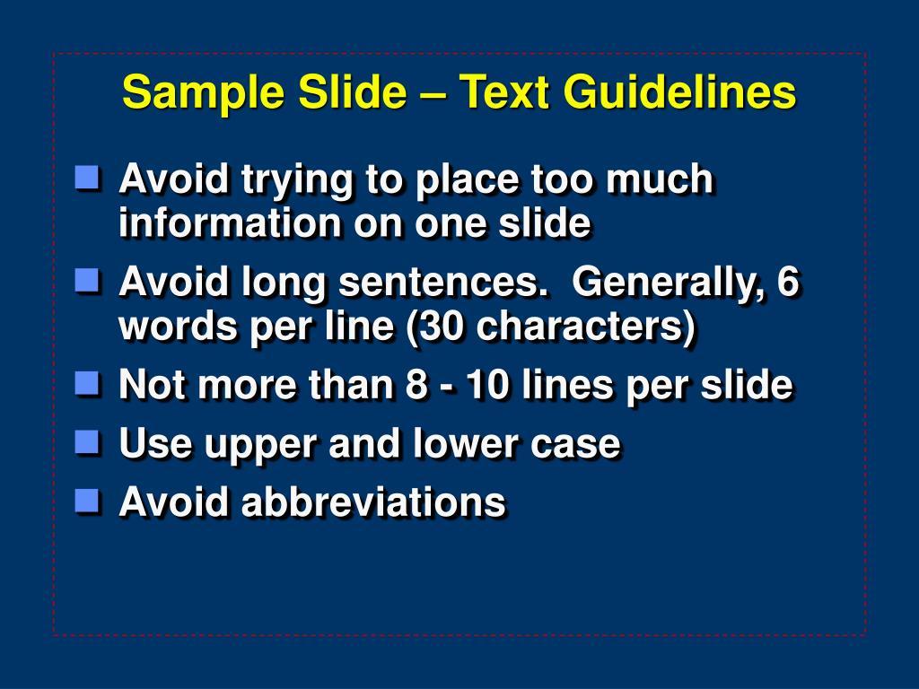 Sample Slide – Text Guidelines